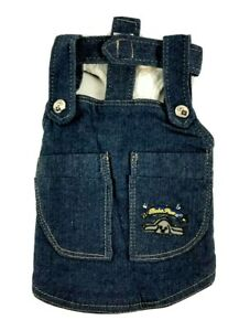 Bobo Paw Small Dog Blue Denim Jacket  Linen Cotton Sherpa Fleece Lining Sz 12