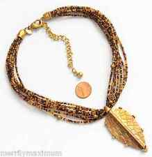 Chico's Signed Necklace Gold Tone Textured Leaf Pendant Multi Amber Color Beads