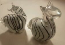 Set of 2 Vintage Glass Art Zebra Clear White Black Stripe Pair Couple Detailed