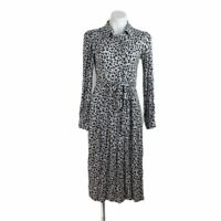 Loft Shirt dress Womens Size 2 Leopard Print Tie Waist Shirtdress Black Gray