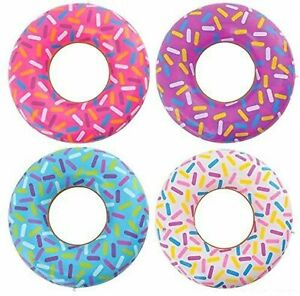 """12 - Assorted 18"""" Sprinkle Donut Inflatable Pool Party Decoration Float Blow Up"""