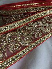 Fancy Rojo lentejuelas de oro 65mm indio de encaje de corte nueva venta de cinta de organza