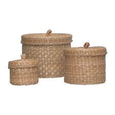 NUOVO Set Di 3 IKEA LJUSNAN Seagrass fatto a mano scatole portaoggetti/CESTE CON lidspup 10