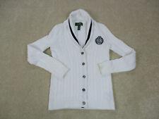 Lauren Ralph Lauren Polo Sweater Womens Small White Black Knit Cardigan Ladies *