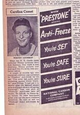 1952 newspaper ad for Prestone - New York Giants baseball player Whitey Lockman