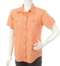 Columbia Womens Outdoor Hiking Shirt Short Sleeve Sz M 12 Orange Checks Pockets