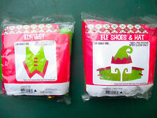 Adult Size 'Elf' Shoes, Hat and Vest -Red & Green Felt With Gold Metal Bells-Nib