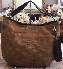 Michael Kors Bennet Brown Straw Leather Hobo Shoulder Bag Purse EUC, MSRP $298