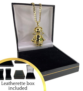 Boxed 18k Gold GF 3D Rag Doll Pendant with 4mm 24 inch Cuban Chain