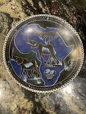 African Hand Carved Elephant Plate/Dish - Tribal Art Good Luck Stone