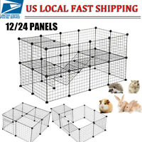 Pet Playpen Heavy Duty Metal Cage Crate 12/24 Panel Dog Fence Wire Kennel W/Door