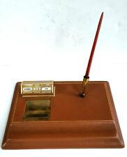 Antique Desk Organizer, Pen holder, Desk Calemndar, Leather, from 1930's
