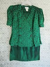 Jodi Michaels 2 Piece Suit Set Top and Skirt Size 16 Green Floral Buttons Formal
