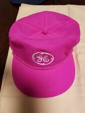 Vintage GE General Electric Hot Pink Snapback Hat, Summer Fun, Collectible