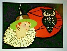 *UNUSED* Halloween Postcard: Art Deco Witch & Owl Vintage Image~Reproduction