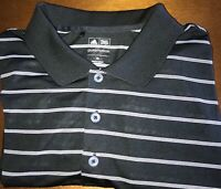 Adidas Puremotion Mens XL Golf Polo Shirt Short Sleeve Black Striped