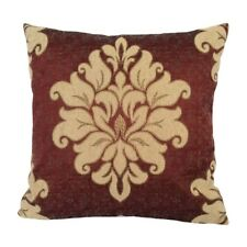 Satin Gold Effect Damask 18x18 Claret Red Decorative Pillow Case/Cushion Cover