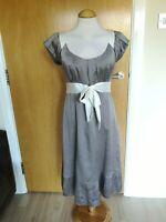 Ladies MONSOON Dress Size 10 Ivory Mink Silk Party Evening Wedding Races
