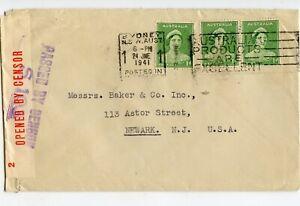 AUSTRALIA WW II CENSORED COVER #S.103, SYDNEY 24 JNE 1941 TO USA         (D729)