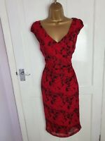 LK Bennett UK Size 8 Red Rose Print 100% Silk Party Occasion Evening Dress