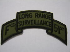 "RANGER SCROLL - ""F"" CO. 51ST LONG RANGE SURVEILLANCE TAB PATCH SUBDUED/OD:K5"