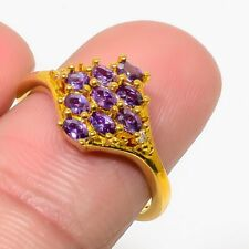 Gold Tone Birthday Fine Jewelry Gift Natural Panorama Amethyst White Topaz Ring