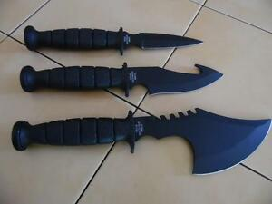SURVIVAL KNIVES (Set of 3) with FREE Sheath that slips through your belt NEW!