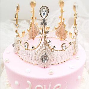 US! Women Girls Retro Lace Queen Crown Headgear Birthday Cake Topper Decoration