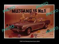 OLD POSTCARD SIZE PHOTO OF 1968 FORD MUSTANG CONVERTIBLE LAUNCH PRESS PHOTO