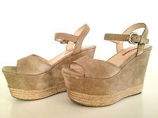 Prada Wedges Schuhe 38 Beige Leder, Neu