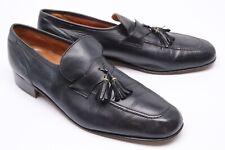 VTG French Shriner Mens Tassel Loafers 12 M Black Leather Slip On Dress Shoes