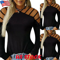 US Womens Plain Long Sleeve Cut Out T Shirt Tops Ladies Casual Party Blouse Tee
