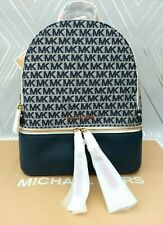Michael Kors Genuine Large Leather/Canvas Rhea Zip Monogram Backpack Navy BNWT