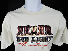 XL Bud Light Country Cowboy Boots T Shirt Beer Western
