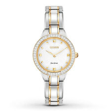Citizen Eco-Drive Silhouette Crystal Two Tone Women's Watch EX1364-59A NWT $295