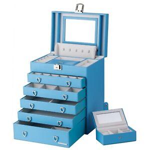 BLUE Jewelry Box Organizer Bracelet Rings Watch Display Cabinet Storage Case 20