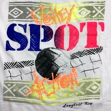 Vtg 90's Usa made Msp White Neon Volley Spot Action Beach Volleyball T-Shirt M/L