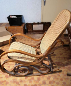 Rocking chair wood with original label cane Thonet model chair bentwood