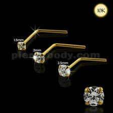 22G 10K Solid Yellow Gold L-Shaped Jeweled Round Cut Stone Prong Set Nose Stud