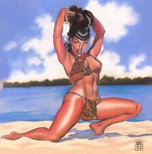 BETTIE PAGE ON THE BEACH! PRINT! GIANT 12x18! FULL COLOR COMIC ART BY GENE ESPY!