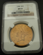 US 1900 Gold $20 Double Eagle NGC MS63