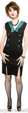 77738 Black Teal Rockabilly Sailor Dress Sourpuss Pin-Up 1940s 1950s Medium NEW