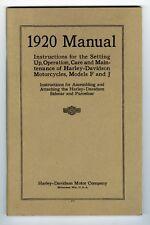 1920 HARLEY DAVIDSON OPERATION & MAINTENANCE MANUAL - ANTIQUE REPRODUCTION