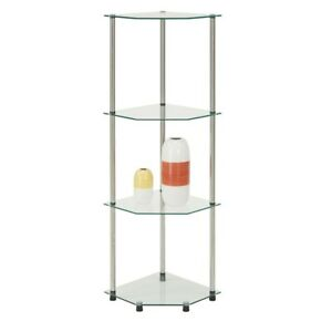 Convenience Concepts Designs2Go 4 Tier Corner Shelf, Glass - 157005