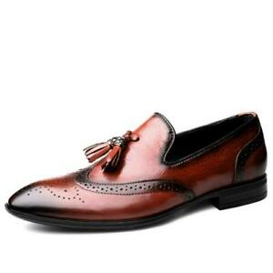 Business Men's Brock Carved Formal Leather Pointed Toe Tassel Flat Oxford Shoes