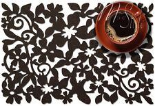 PAIR of Dark Brown Felt Placemat Table Mat Openwork Floral Design