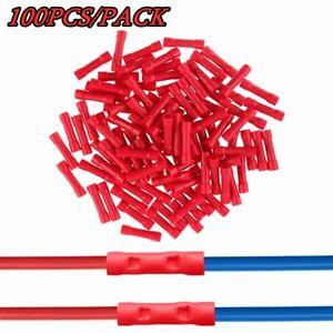 100PCS Wire Butt Connectors Red Vinyl 22-18 Gauge AWG Ga Car Audio Terminals