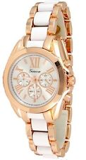 Rose Gold White Womens Geneva Watch Bracelet Designer Girlfriend Band Metal