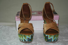 NEW JEFFREY CAMPBELL –BRADSHAW-2 TAN/GREE SUEDE LACE WOMEN'S SANDAL US 9 EUR 40