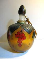 Antique Martinelli Apple Cider Glass Bottle Jug Hand Painted & Signed Wood Lid
